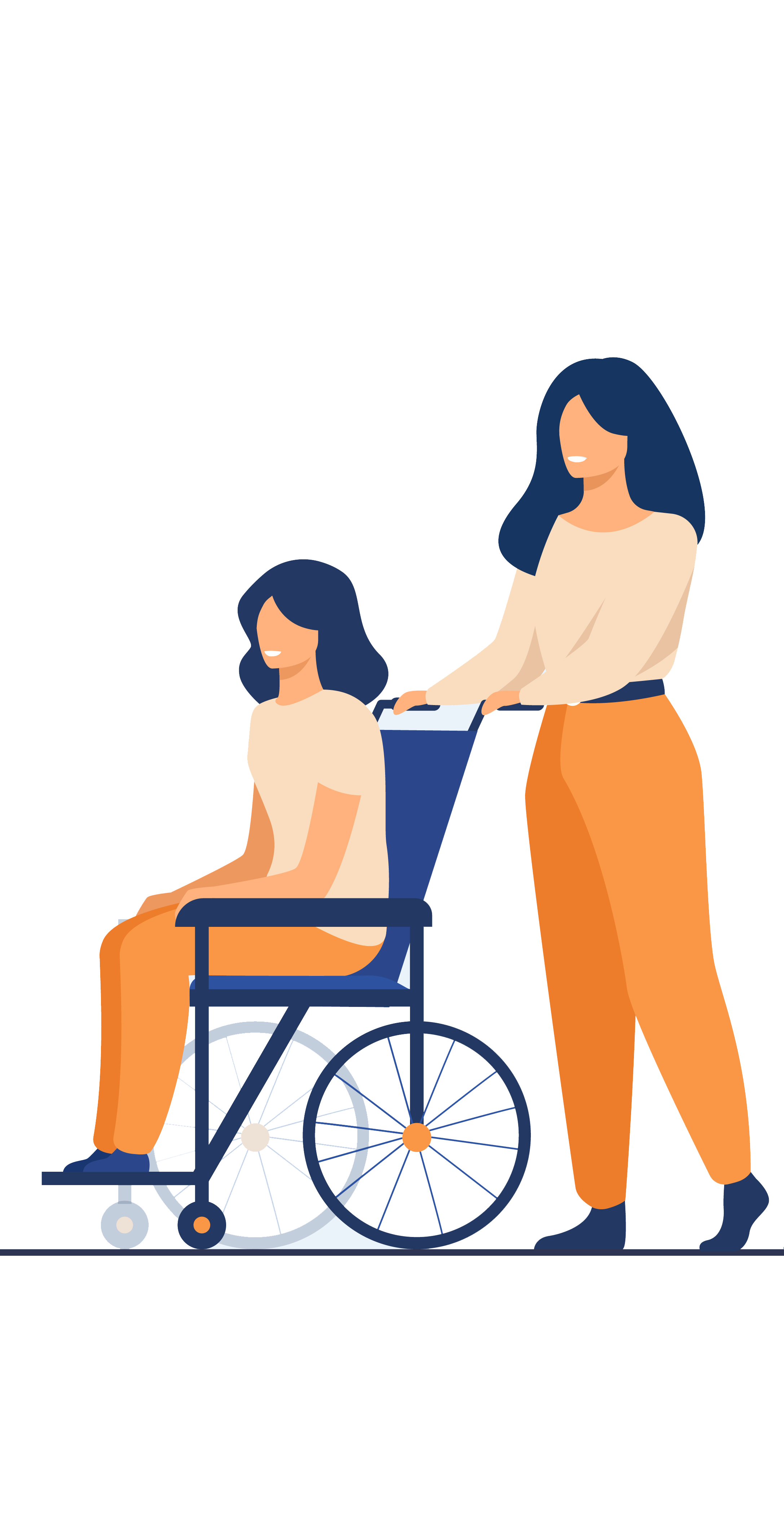 Enfant en situation de handicap moteur assis sur un fauteuil roulant et poussé par un adulte.