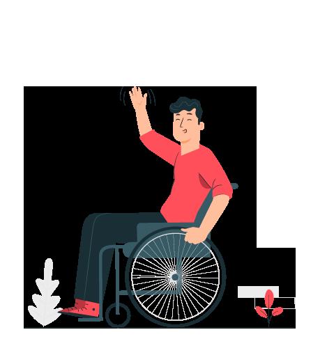 Personne handicapée en fauteuil roulant.