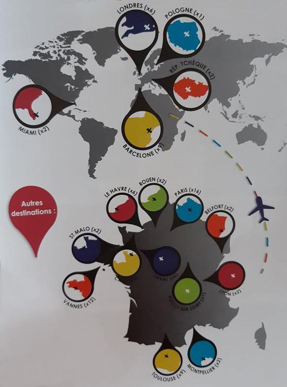Carte des endroits visités pour apprendre la pédagogie conductive par Carole Bourdais-Savé.